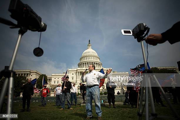 Rightwing radio talk show host Hal Turner speaks to members of the National Socialist Movement on the grounds of the United States Capitol Building...