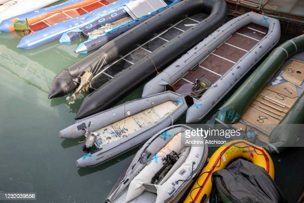 Rigid Inflatable Boats in Dover docks that have been used by asylum seekers after being rescued in the English Channel while crossing in small...