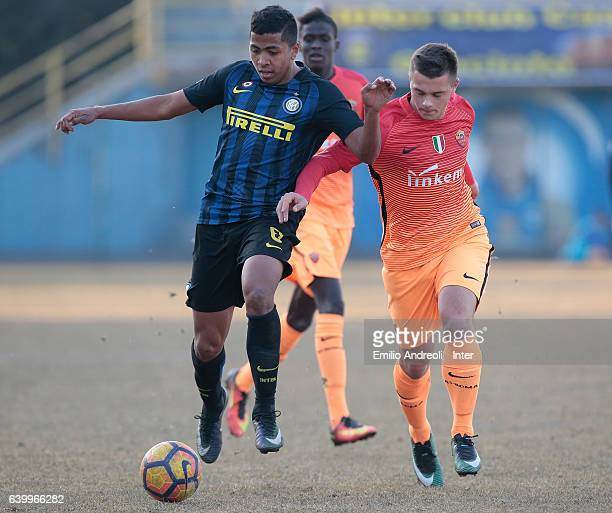 Rigo Berto Rivas of FC Internazionale Milano competes for the ball with Silvio Anocic of As Roma during the Primavera Tim Cup juvenile match between...
