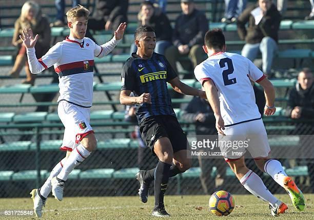 Rigo Berto Rivas of FC Internazionale Milano is challenged during the Primavera Tim juvenile match between FC Internazionale and Genoa CFC at Stadio...