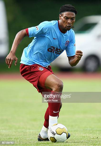 Rigobert Song of Trabzonspor runs with the ball during the friendly match between Werder Bremen and Trabzonspor at the Nordsee stadium on August 2...