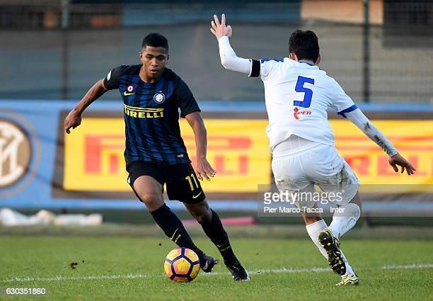 Rigoberto Manuel Rivas Vindel of FC Internazionale Primavera competes for the ball with Riccardo Gatti of Atalanta BC during the Primavera Tim Cup...