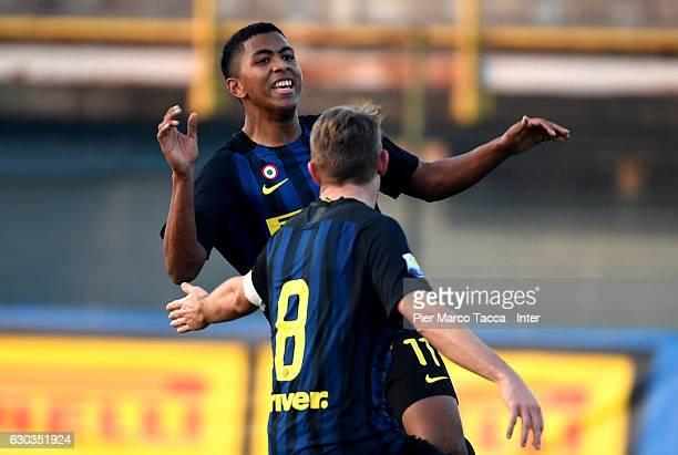 Rigoberto Manuel Rivas Vindel of FC Internazionale Primavera celebrates his first goal during the Primavera Tim Cup juvenile match between FC...