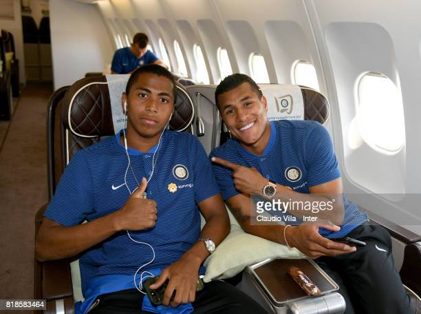 Rigoberto Rivas and Jeison Murillo of FC Internazionale arrive with the team at Malpensa International Airport to depart to Nanjing International...