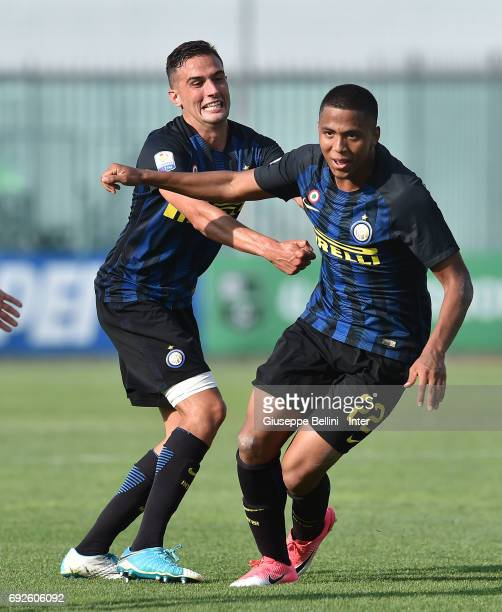 Rigoberto Rivas Vindel of FC Internazionale celebrates after scoring the goal 21 during the Primavera TIM Playoffs match between FC Internazionale...
