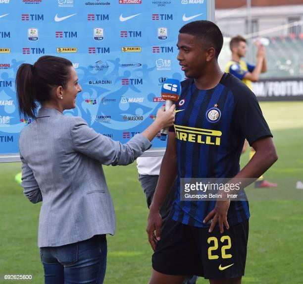 Rigoberto Rivas Vindel of FC Internazionale speaks after the Primavera TIM Playoffs match between FC Internazionale and AC Chievo Verona on June 5...