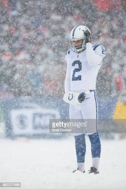 Rigoberto Sanchez of the Indianapolis Colts readies to punt the ball during the second quarter against the Buffalo Bills at New Era Field on December...