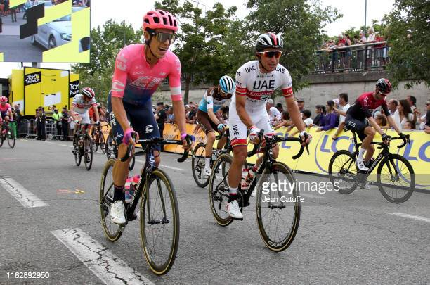 Rigoberto Uran of Colombia and EF Education First and Sergio Luis Henao Montoya of Colombia and UAE Team Emirates during stage 12 of the 106th Tour...