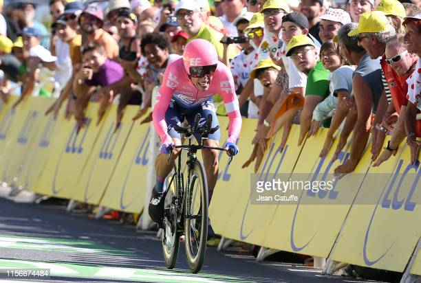 Rigoberto Uran of Colombia and EF Education First crosses the finish line during stage 13 of the 106th Tour de France 2019, an individual time trial...