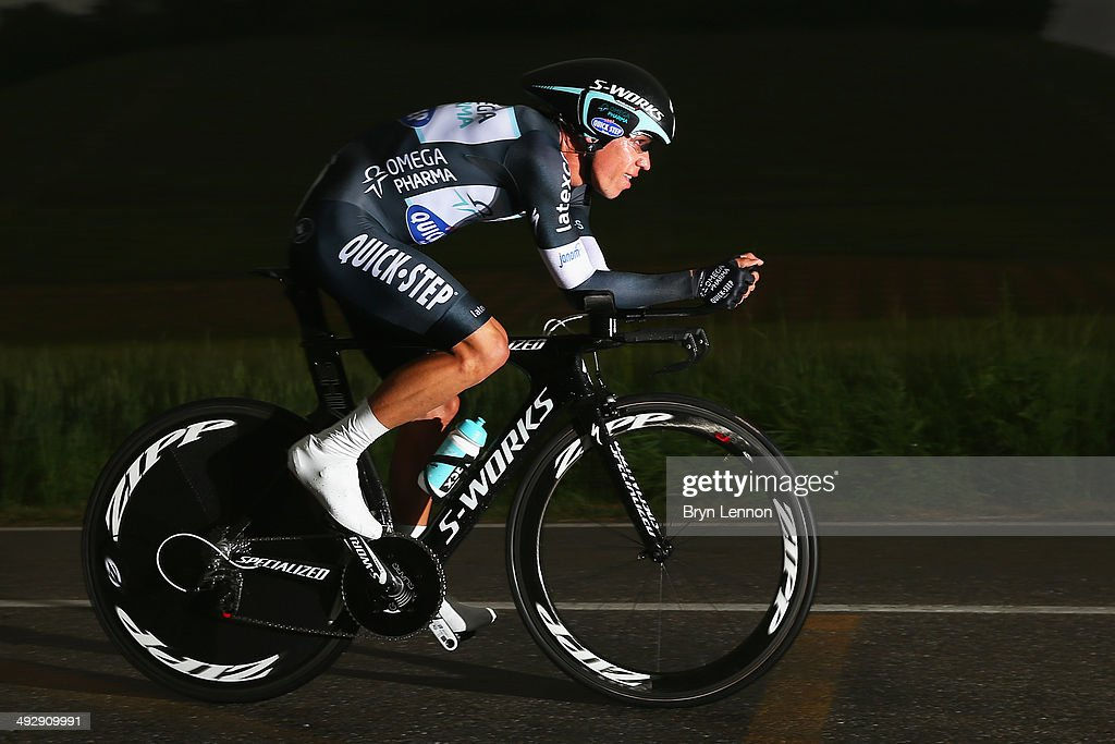 Rigoberto Uran of Colombia and Omega Pharma-Quickstep in action during the twelfth stage of the 2014 Giro d'Italia, a 42km Individual Time Trial stage between Barbarasco and Barolo on May 22, 2014 in Barbarasco, Italy.