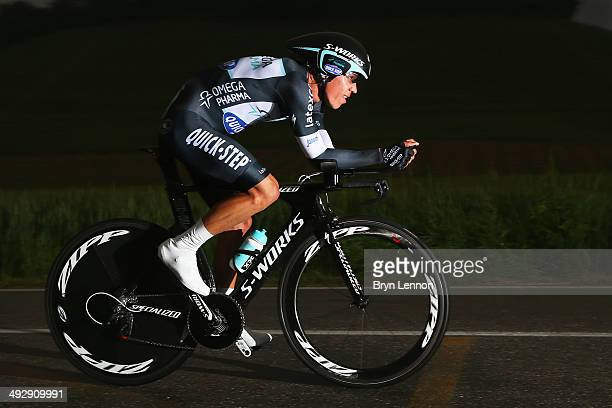 Rigoberto Uran of Colombia and Omega PharmaQuickstep in action during the twelfth stage of the 2014 Giro d'Italia a 42km Individual Time Trial stage...