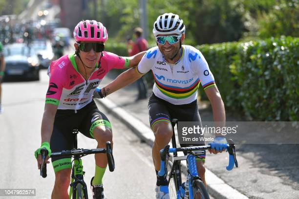 Rigoberto Uran of Colombia and Team EF Education First Drapac P/B Cannondale / Alejandro Valverde Belmonte of Spain and Movistar Team / during the...