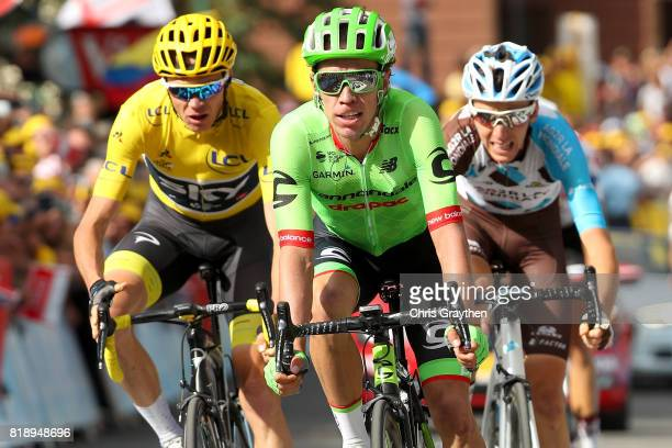 Rigoberto Uran of Colombia riding for Cannondale Drapac Romain Bardet of France riding for AG2R La Mondiale and Christopher Froome of Great Britain...