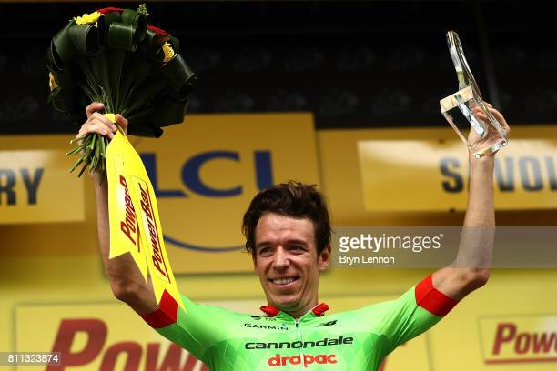 Rigoberto Uran of Columbia and Cannondale Drapac Professional Cycling Team celebrates on the podium after winning stage nine of Le Tour de France...