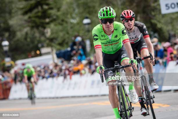 Rigoberto Uran of the CannondaleDrapac Pro Cycling Team crosses the finish line during stage 2 of the Colorado Classic on August 11 2017 in...