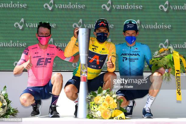 Rigoberto Uran Uran of Colombia and Team EF Education - Nippo 2nd place, Richard Carapaz of Ecuador and Team INEOS Grenadiers yellow leader jersey &...