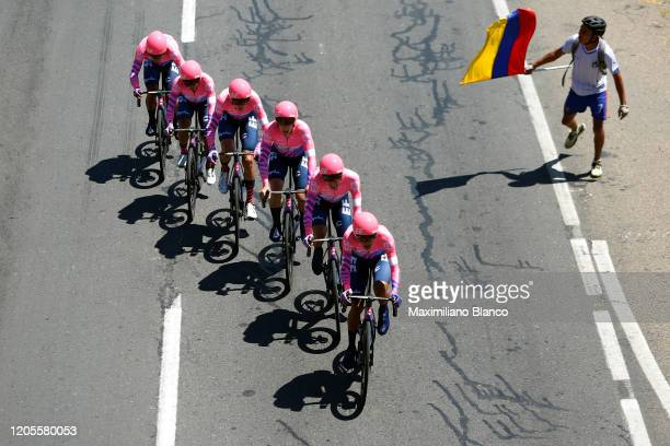 Rigoberto Urán of Colombia and Team EF Pro Cycling / Lawson Craddock of The United States and Team EF Pro Cycling / Sergio Andres Higuita Garcia of...