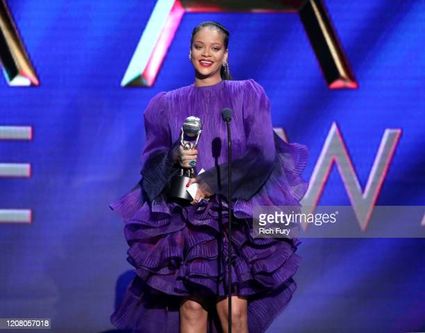 Rihanna accepts the President's Award onstage during the 51st NAACP Image Awards, Presented by BET, at Pasadena Civic Auditorium on February 22, 2020...