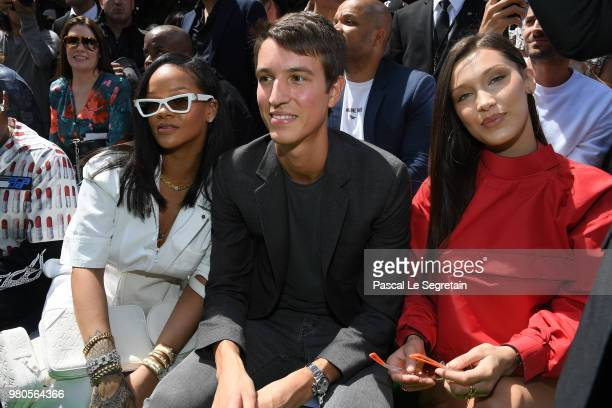 Rihanna Alexandre Arnault and Bella Hadid attend the Louis Vuitton Menswear Spring/Summer 2019 show as part of Paris Fashion Week on June 21 2018 in...