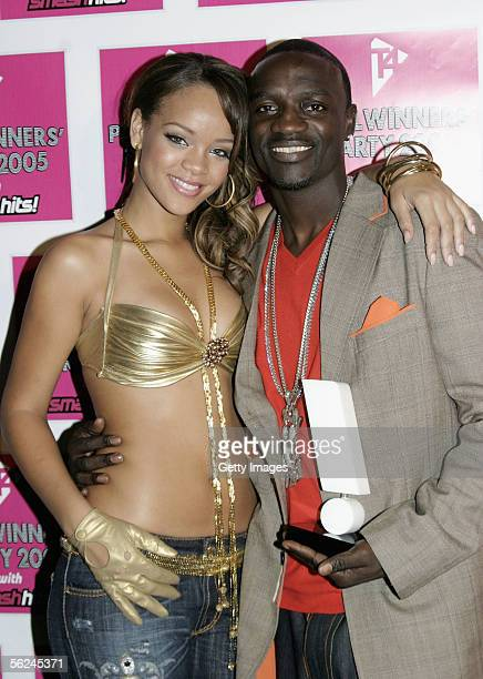 Rihanna and Akon pose in the press room with Akon's award for Best R 'n' B Act at the T4 Poll Winners' Party 2005 With Smash Hits at Wembley Arena...