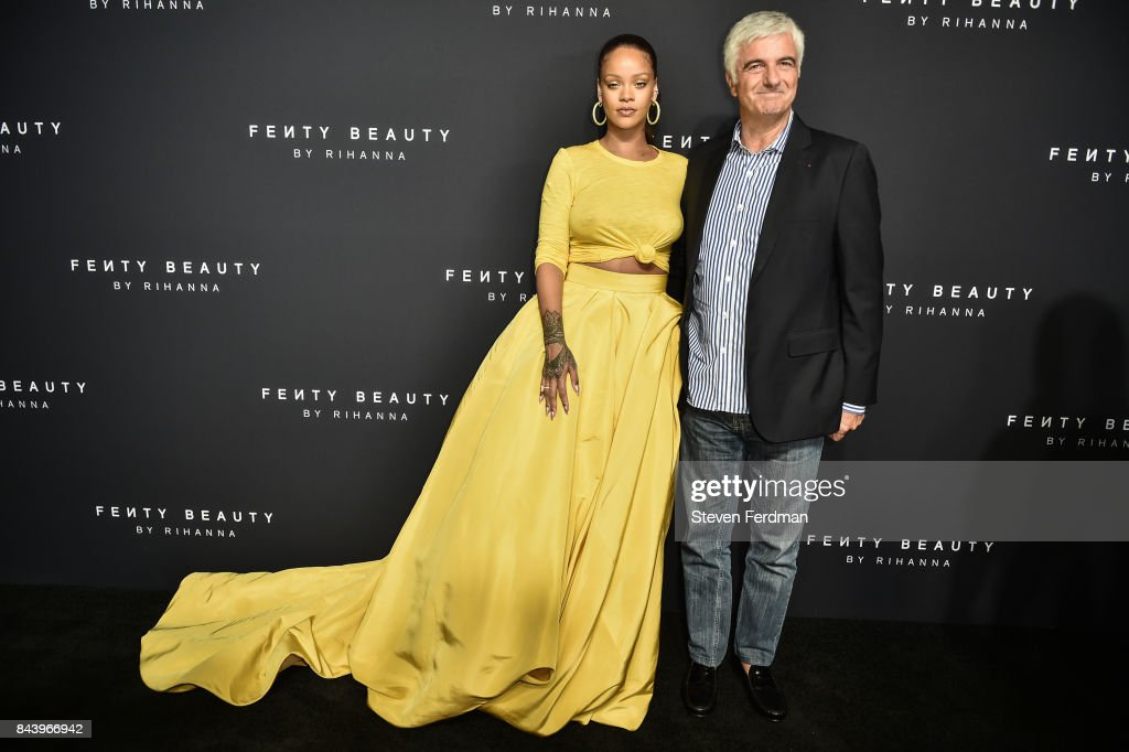 Rihanna and Antonio Belloni attend Fenty Beauty by Rihanna Launch on September 7, 2017 in the Brooklyn borough of New York City, New York.