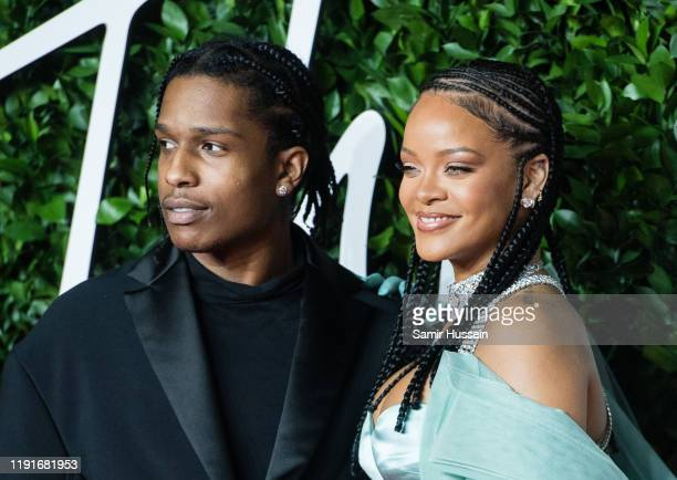 Rihanna and ASAP Rocky arrive at The Fashion Awards 2019 held at Royal Albert Hall on December 02 2019 in London England