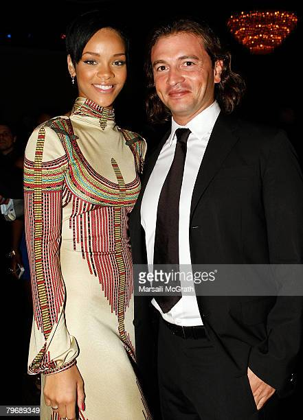 Rihanna and Belstaff Creative Director Manuele Malenotti during the 2008 Clive Davis PreGRAMMY party at the Beverly Hilton Hotel on February 9 2008...