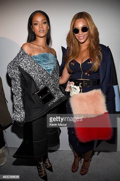 Rihanna and Beyonce pose backstage at the adidas Originals x Kanye West YEEZY SEASON 1 fashion show during New York Fashion Week Fall 2015 at...