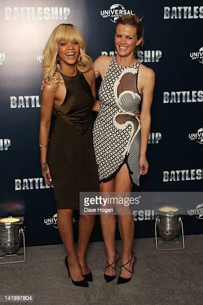 Rihanna and Brooklyn Decker attend a photocall for Battleship at The Corinthia Hotel on March 28 2012 in London England