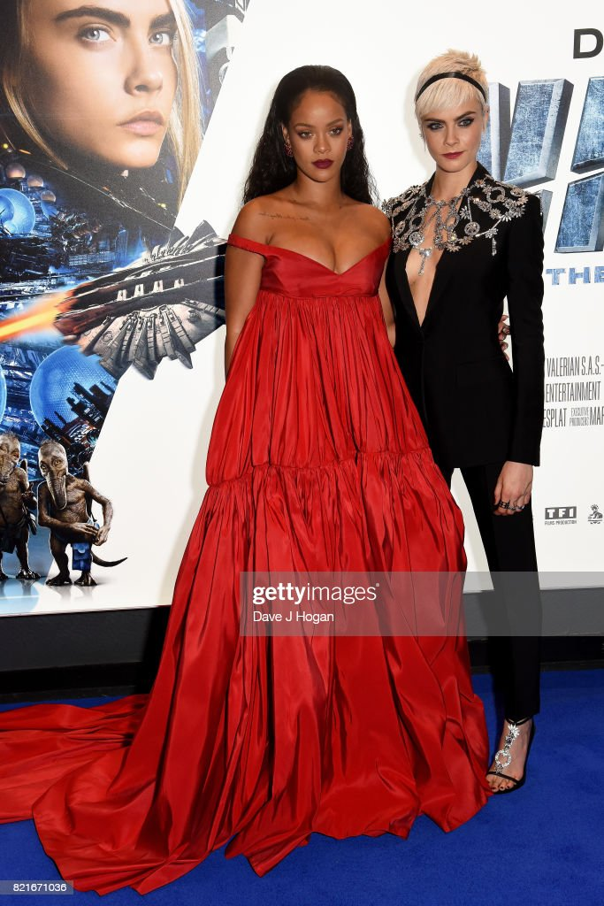 Rihanna and Cara Delevingne attend the European premiere of 'Valerian and The City of a Thousand Planets' at Cineworld London on July 24, 2017 in London, England.