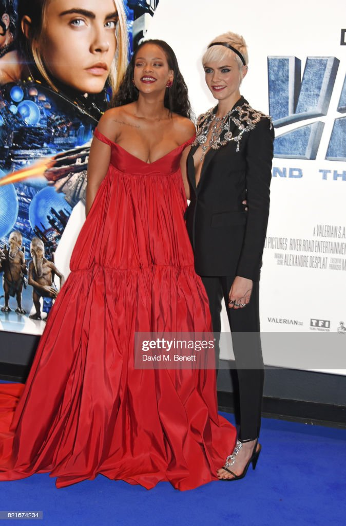 Rihanna (L) and Cara Delevingne attend the European Premiere of 'Valerian And The City Of A Thousand Planets' at Cineworld Leicester Square on July 24, 2017 in London, England.