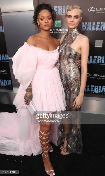 Rihanna and Cara Delevingne attend the premiere of EuropaCorp And STX Entertainment's 'Valerian And The City Of A Thousand Planets' at TCL Chinese...