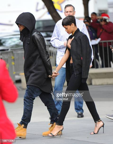 Rihanna and Chris Brown are seen on December 25 2012 in Los Angeles California