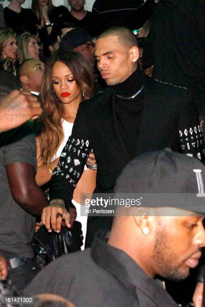 Rihanna and Chris Brown attend Post Grammy Party At Supperclub Hosted By Chris Brown And ZING Vodka Los Angeles on February 10 2013 in Los Angeles...