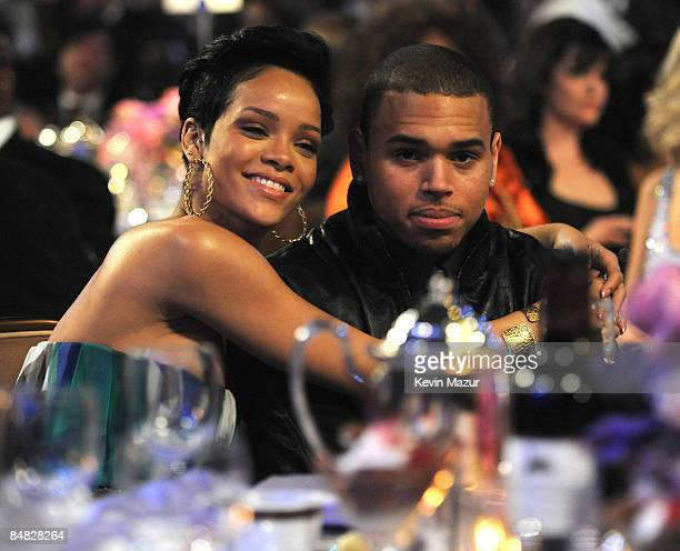 *EXCLUSIVE* Rihanna and Chris Brown attends the 2009 GRAMMY Salute To Industry Icons honoring Clive Davis at the Beverly Hilton Hotel on February 7...