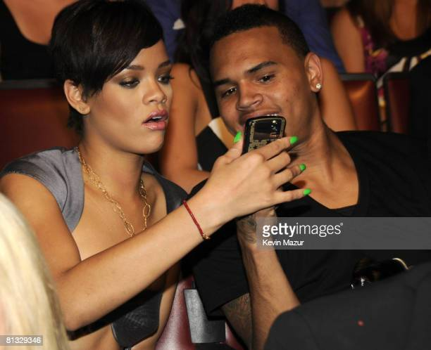 Rihanna and Chris Brown in the audience at the 2008 MTV Movie Awards on June 1 2008 at the Gibson Amphitheatre in Universal City California