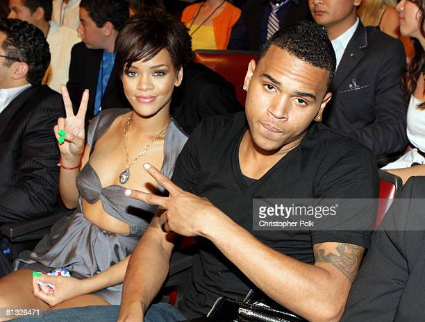 Rihanna and Chris Brown in the audience during the 2008 MTV Movie Awards at the Gibson Amphitheatre on June 1 2008 in Universal City California