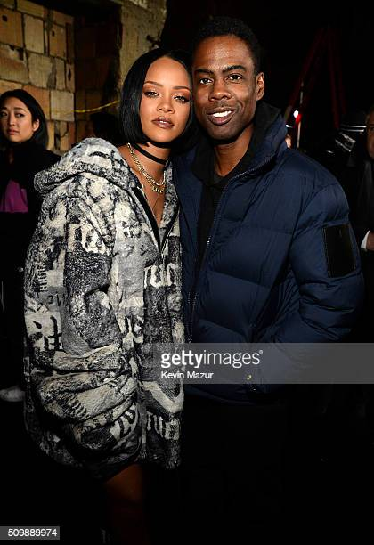 Rihanna and Chris Rock attend the FENTY PUMA by Rihanna AW16 Collection during Fall 2016 New York Fashion Week at 23 Wall Street on February 12 2016...