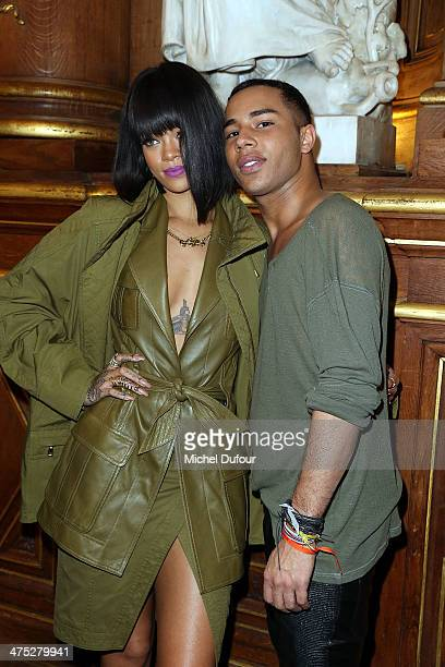 Rihanna and designer Olivier Rousteing attend the Balmain show as part of the Paris Fashion Week Womenswear Fall/Winter 20142015 on February 27 2014...
