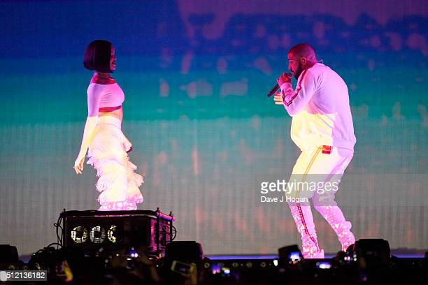 Rihanna and Drake perform during the BRIT Awards 2016 at The O2 Arena on February 24 2016 in London England