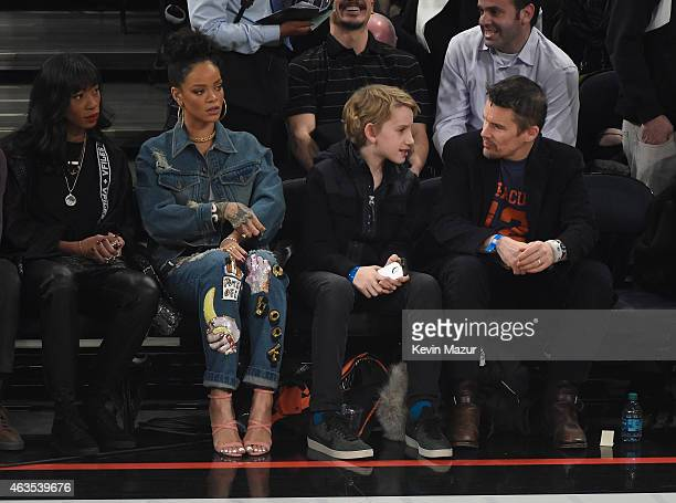 Rihanna and Ethan Hawke attend The 64th NBA AllStar Game 2015 on February 15 2015 in New York City
