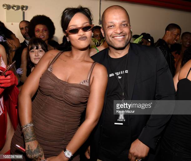 Rihanna and Jay Brown pose backstage for the Savage X Fenty Fall/Winter 2018 fashion show during NYFW at the Brooklyn Navy Yard on September 12 2018...