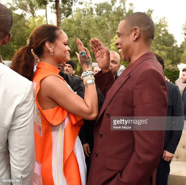 Rihanna and Jay Z attend 2017 Roc Nation PreGRAMMY brunch at Owlwood Estate on February 11 2017 in Los Angeles California