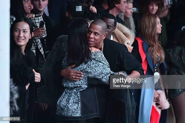 Rihanna and JayZ attend the adidas Originals x Kanye West YEEZY SEASON 1 fashion show during New York Fashion Week Fall 2015 at Skylight Clarkson Sq...