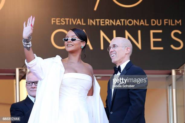 Rihanna and Jeffrey Katzenberg attend the Okja screening during the 70th annual Cannes Film Festival at Palais des Festivals on May 19 2017 in Cannes...