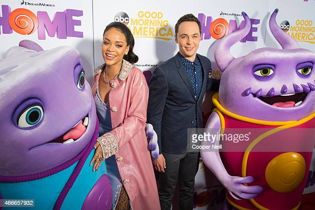 Rihanna and Jim Parsons pose for a photo before a screening of 'Home' at Cinemark West Plano on March 17 2015 in Plano Texas