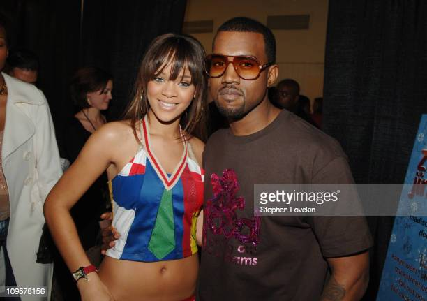 Rihanna and Kanye West during Z100's Jingle Ball 2005 Artist Gift Lounge at Madison Square Garden in New York City New York United States