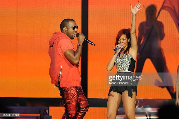 Rihanna and Kanye West perform during halftime of the game between the Eastern Conference AllStars and the Western Conference AllStars in the 2011...