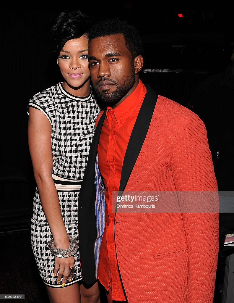Rihanna and Kanye West pose backstage during Z100's Jingle Ball 2008 Presented by H&M at Madison Square Garden on December 12, 2008 in New York City. *EXCLUSIVE*