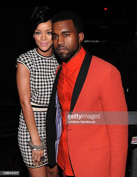 Rihanna and Kanye West pose backstage during Z100's Jingle Ball 2008 Presented by HM at Madison Square Garden on December 12 2008 in New York City...
